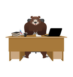 businessman from russia bear sitting in an office vector image vector image
