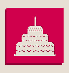 cake with candle sign grayscale version vector image vector image
