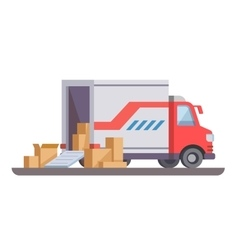 Delivery truck with box vector image vector image