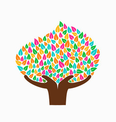 hand tree concept for social help vector image vector image