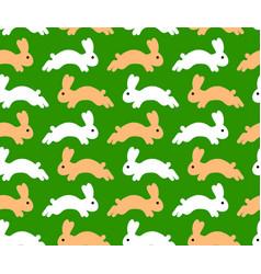jumping rabbit seamless pattern vector image
