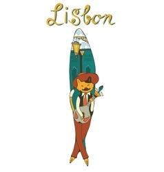 Lisbon sardine as a symbol of popular sardine fest vector image