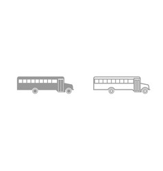 school bus grey set icon vector image vector image