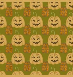 seamless pattern halloween silhouettes dark retro vector image