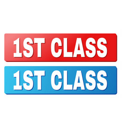 1st class title on blue and red rectangle buttons vector