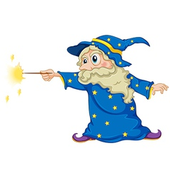 A wizard holding magic wand vector