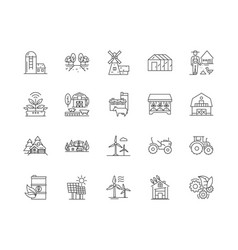 agricultural production line icons signs vector image