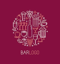 Bar logo in linear style vector