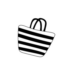 beach striped womens bag icon isolated on white vector image