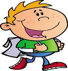 blond school boy walking to school vector image vector image