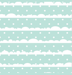 Blue and white polka dot clouds baby seamless vector