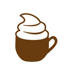Brown cup cappuccino with cream vector