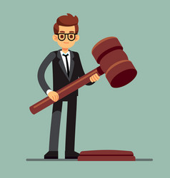 Business lawyer holding wooden judge gavel legal vector