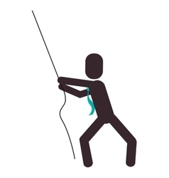 Businessman pictogram pulling rope icon vector