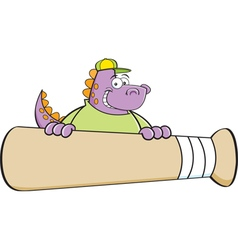 Cartoon dinosaur behind a large baseball bat vector