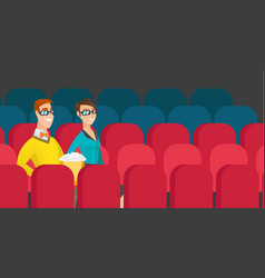 caucasian couple watching 3d movie in the theatre vector image