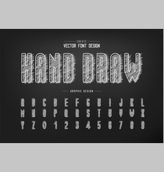 Chalk font and alphabet hand draw tall typeface vector