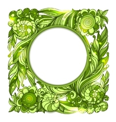 Circle frame with nature floral green ornament vector image