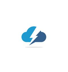 Cloud bolt electric logo vector