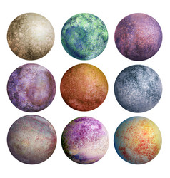 Colorful set of watercolor planets isolated vector