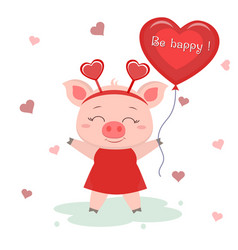 Congratulations on valentine s day a cute pig vector