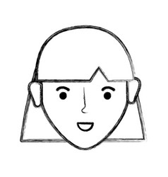 Contour happy young woman with hairstyle vector