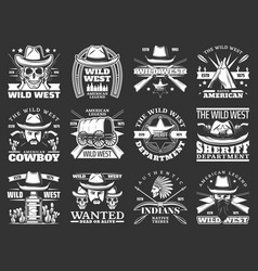 Cowboys skulls and sheriffs with hats wild west vector