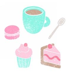 Cup spoon cake macaroon cupcake vector