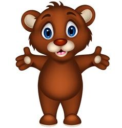 cute baby brown bear cartoon posing vector image