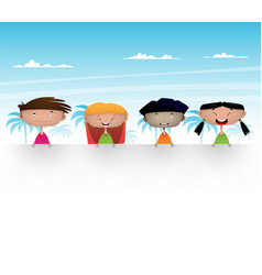 cute multicultural kids vector image