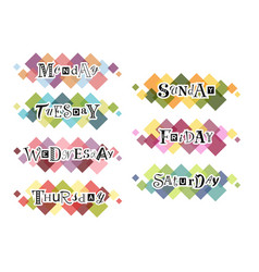 Days of the week on colorful background vector