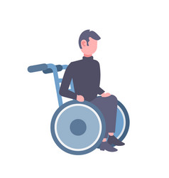 Disabled man sitting in wheelchair disability vector