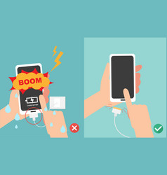 do not play smart phone in charging battery vector image