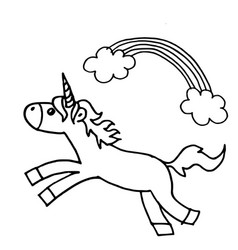 Doodle style hand drawn unicorn isolated vector