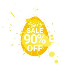 easter sale sign egg over paint splash background vector image
