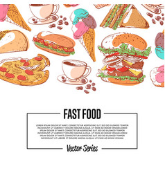 fast food poster with takeaway menu vector image