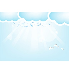 Feathers from the sky Blue Valentines Day backgrou vector