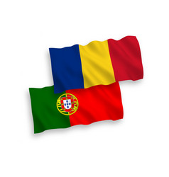 Flags romania and portugal on a white vector
