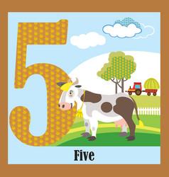 Flat animal numbers 5 vector