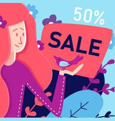 Flat banner sale 50 percent in art vector