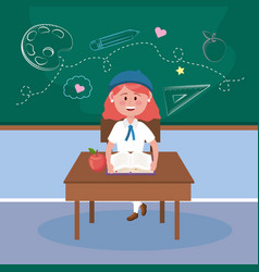 girl student in desk with book and apple fruit vector image