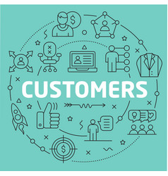 Green line flat circle customers vector