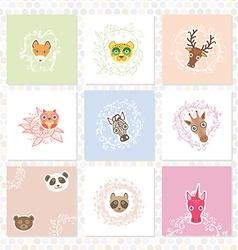 Greeting card set Funny Animals Circle floral vector image
