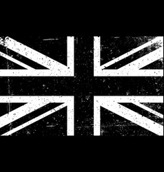 Grunge black and white image of the british flag vector