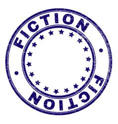 Grunge textured fiction round stamp seal vector