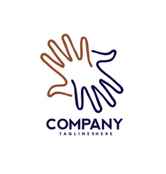 Hands lines care logo togetherness concept logo vector