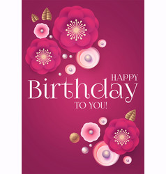 happy birthday cute congratulation card template vector image