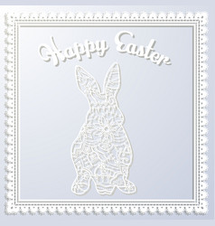 Happy esater paper card with rabbit vector