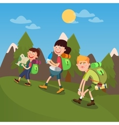 Happy Family Hiking on the Mountains vector