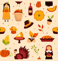 Holiday seamless pattern for thanksgiving day vector